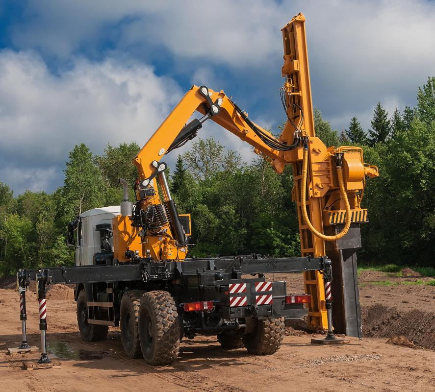 The pile driver is used for pushing objects into the ground.