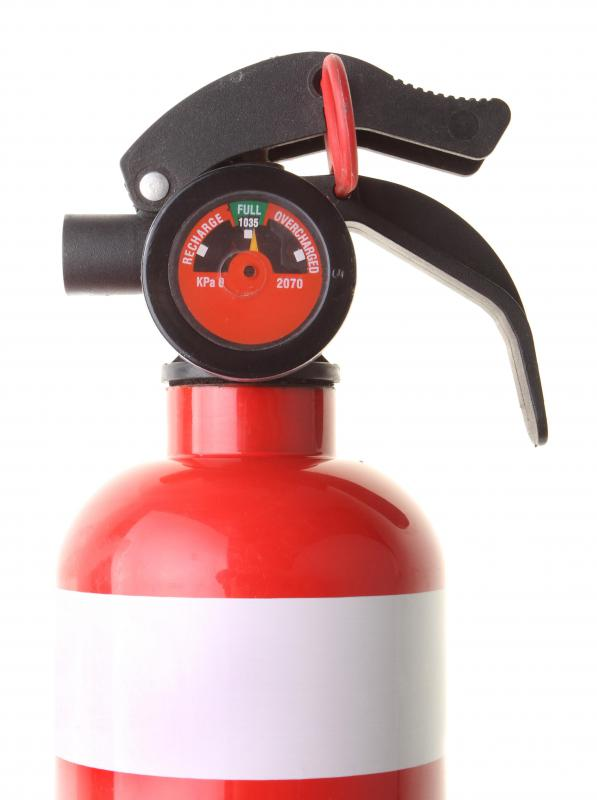 The location of safety equipment, such as a fire extinguisher, is determined by a facilities planner.