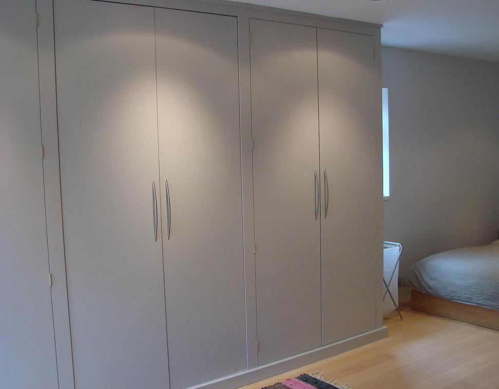 Flush doors may be a good option for closets.