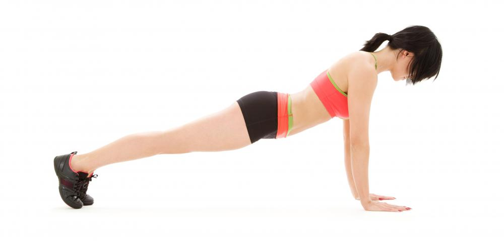 Yoga positions, like the plank, are great for toning and strengthening muscles.