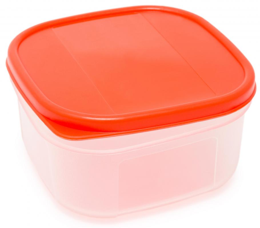 A plastic food storage container.