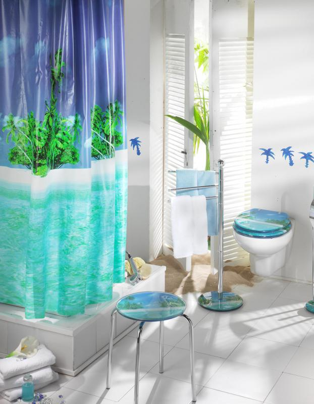 Bathrooms are great rooms to decorate in a Hawaiian theme.