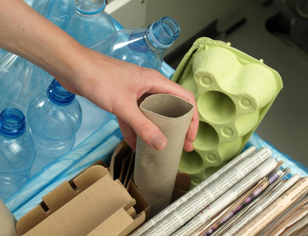 Glass, plastic, and paper items are recyclable.