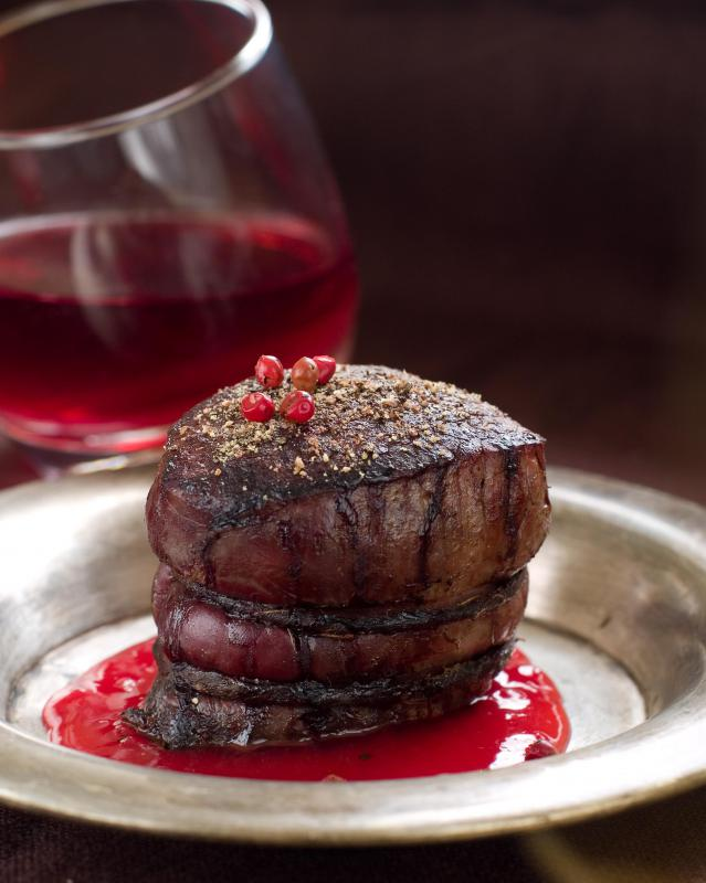 A filet mignon should be pan seared before baking to preserve moisture in the meat.