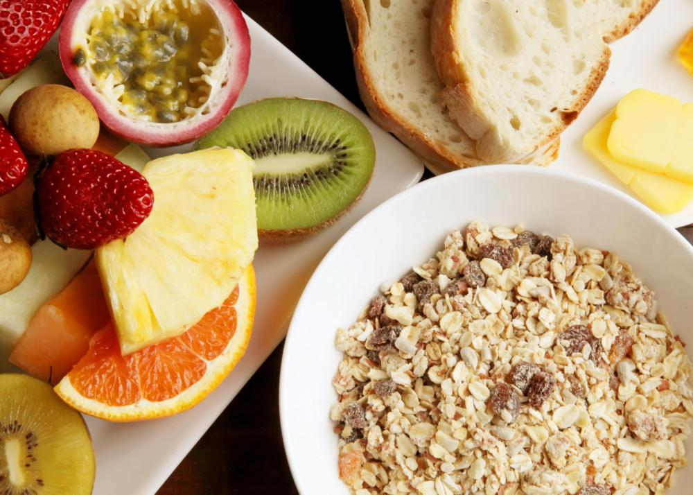 Any toning diet should include several servings of fiber-rich grains and fruits daily.