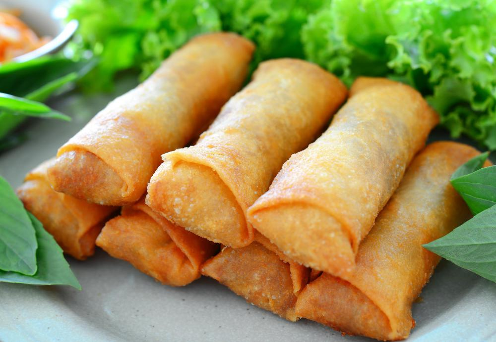 Dungeness crab meat can be used in many dishes including spring rolls.