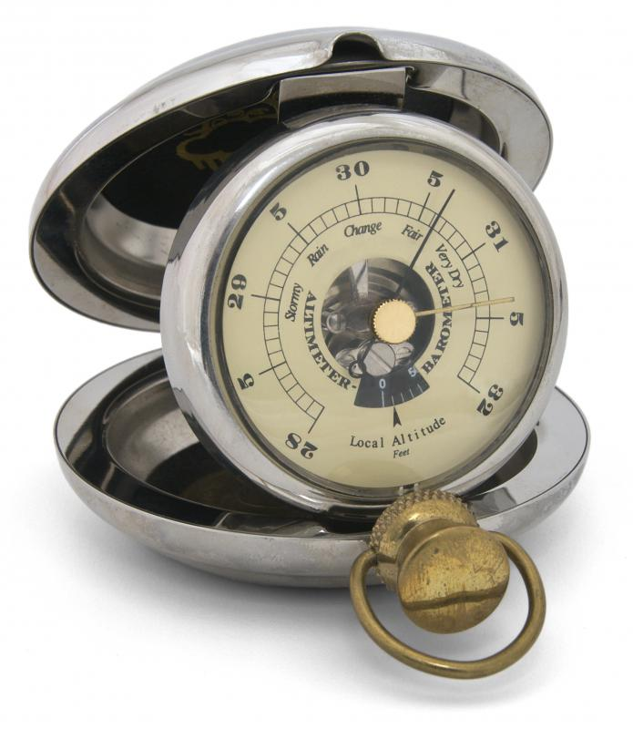 A pocket barometer, which can be used to measure atmospheric pressure.