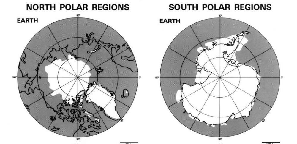 A map of the polar ice caps, which are thought to be affected by global warming.