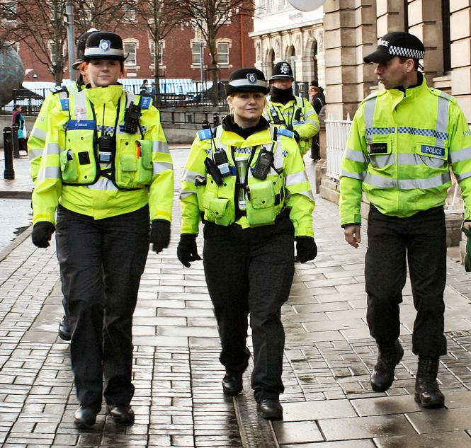 Police officers on foot patrol.