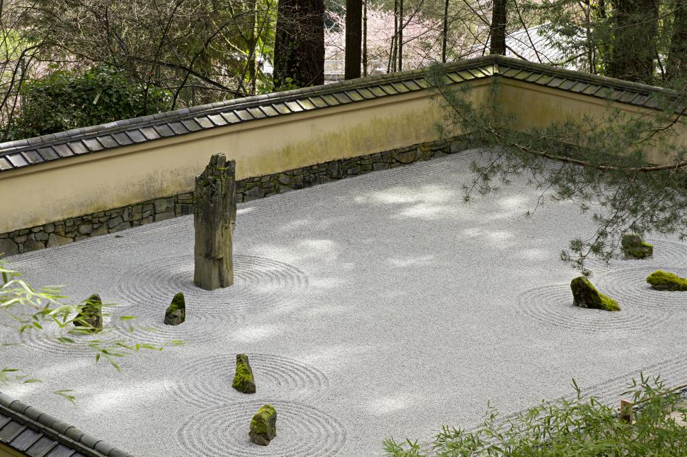 Zen gardens are mostly made or rock, with only a scattering of water or plant life.