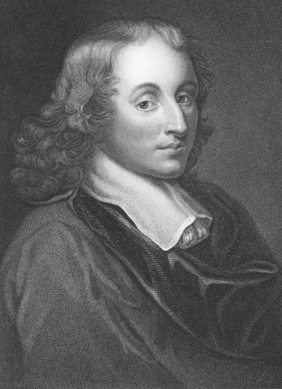 Blaise Pascal developed a mechanical calculator, which was a precursor to an adding machine.