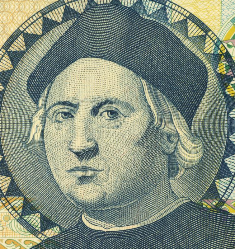 A portrait of Christopher Columbus, who explored Grenada in 1498.