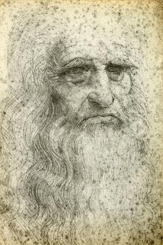A portrait of Leonardo Da Vinci, who produced a lot of religiously-themed art.