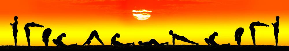 Most versions of the sun salutation feature a dozen poses, known as asanas.