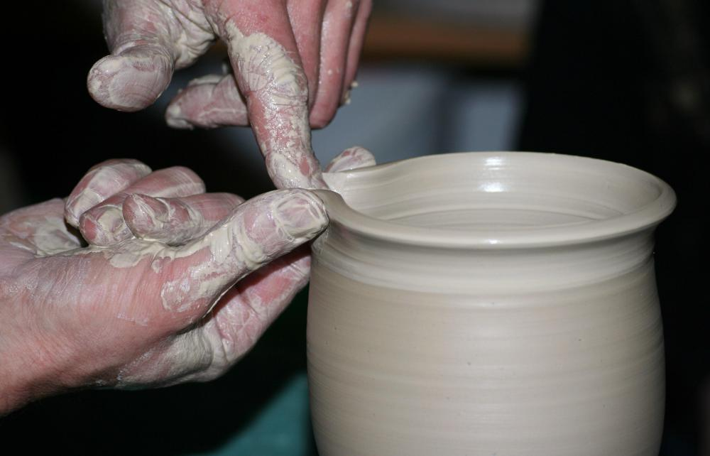Glaze may be added to pieces of pottery to create a unique appearance.
