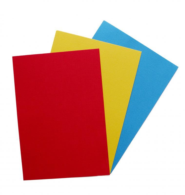 Colorful construction paper is a common school supply for younger children.