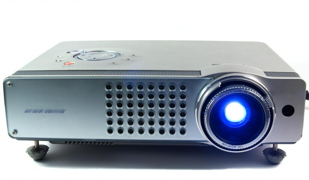 A multimedia projector projects images onto a screen for viewing.