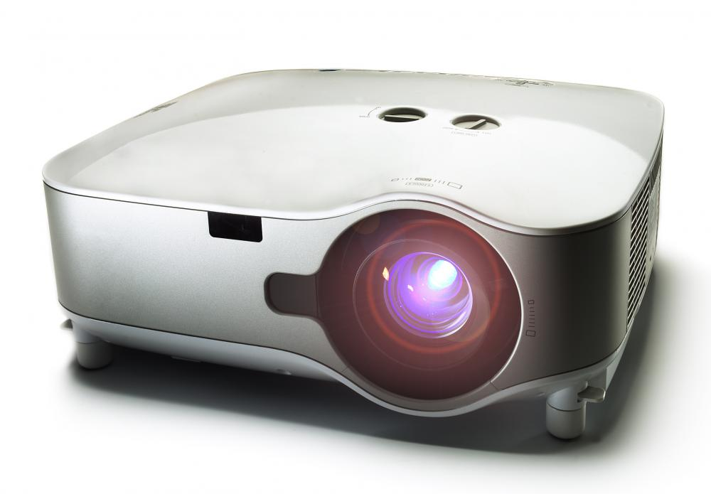 A multimedia hard drive may be connected to a projector.