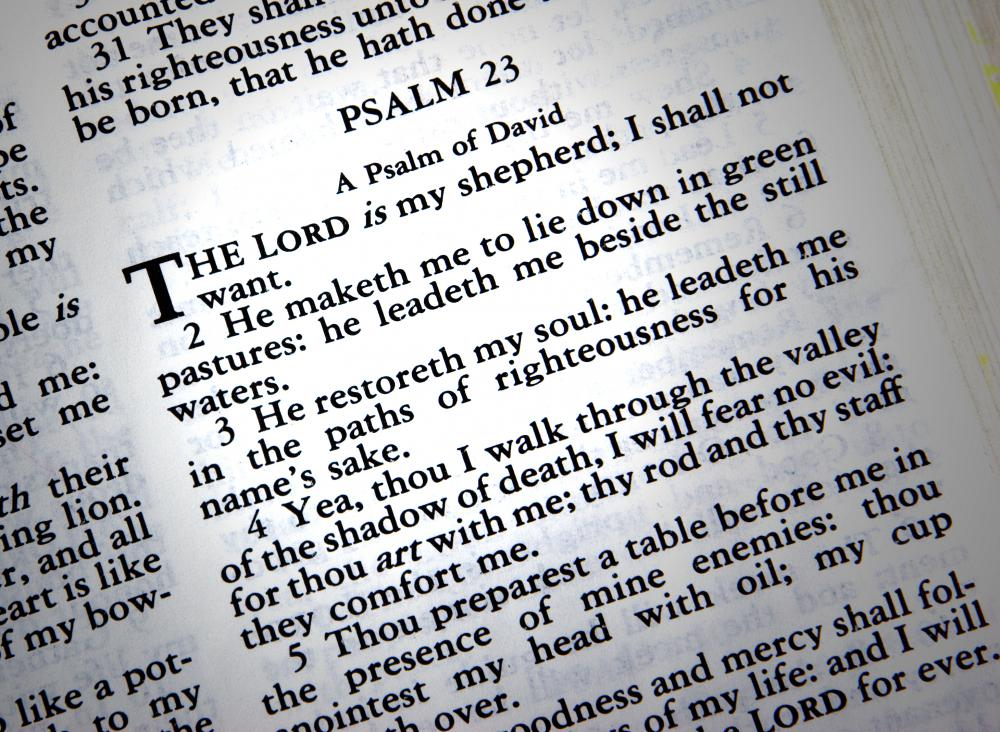 Psalm 23 is a well known religious poem.