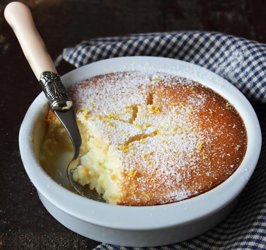 Lemon pudding features the spongy texture of cake on top and the creamy texture of pudding on the bottom.