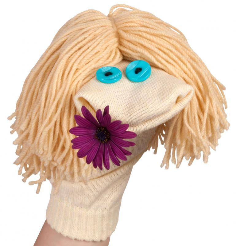 Kids may enjoy creating a sock puppet.
