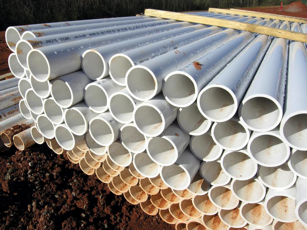 PVC pipes are often used as guides when installing brick pavers.