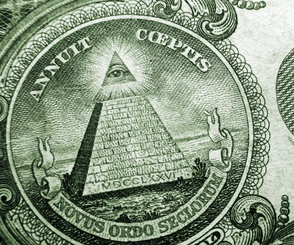 Eye above the pyramid on the US one dollar bill, which is thought to represent the Illuminati.