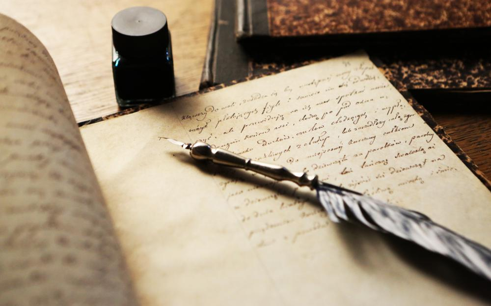A traditional quill may be used in calligraphy.