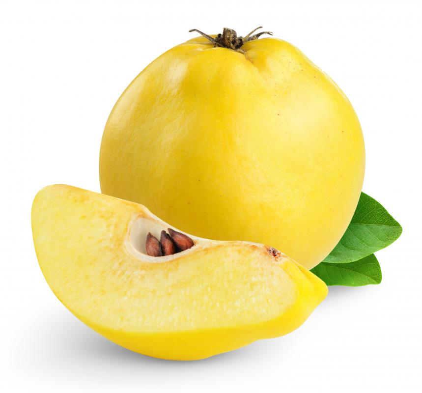 Quince resembles a pear and has a yellowish hard exterior when ripened.