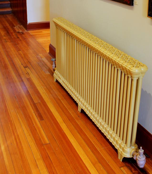 A radiator, a common type of heater.