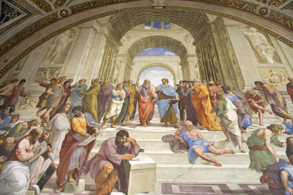 "Raphael's ""School of Athens"" - Aristotle (center, right), holding a book, stands next to Plato."