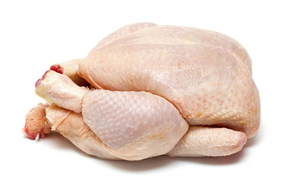 A chicken before being rotisseried.