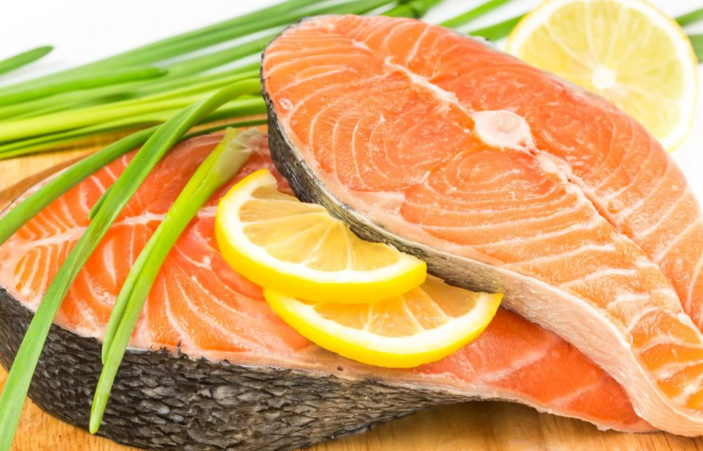Salmon is high in Omega-3 fatty acids.