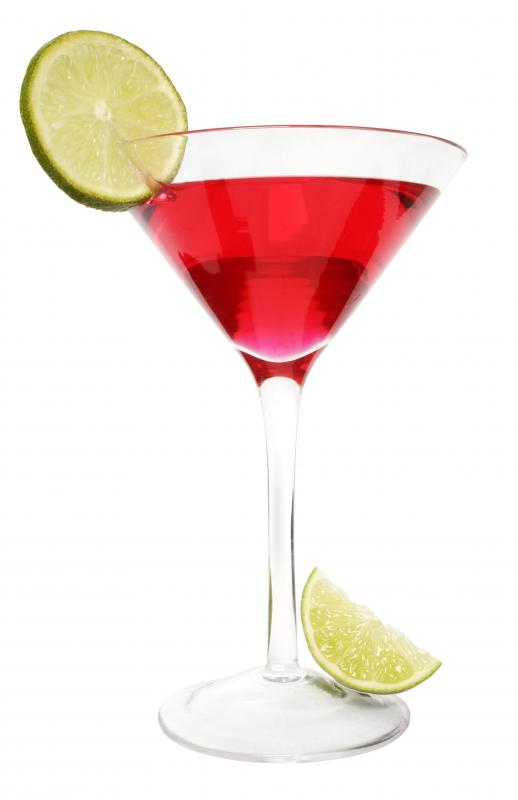 A cocktail in a martini glass.
