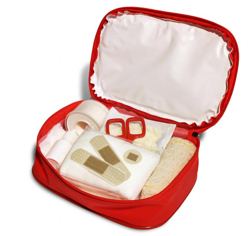 A CPR shield is commonly included in a first aid kit.