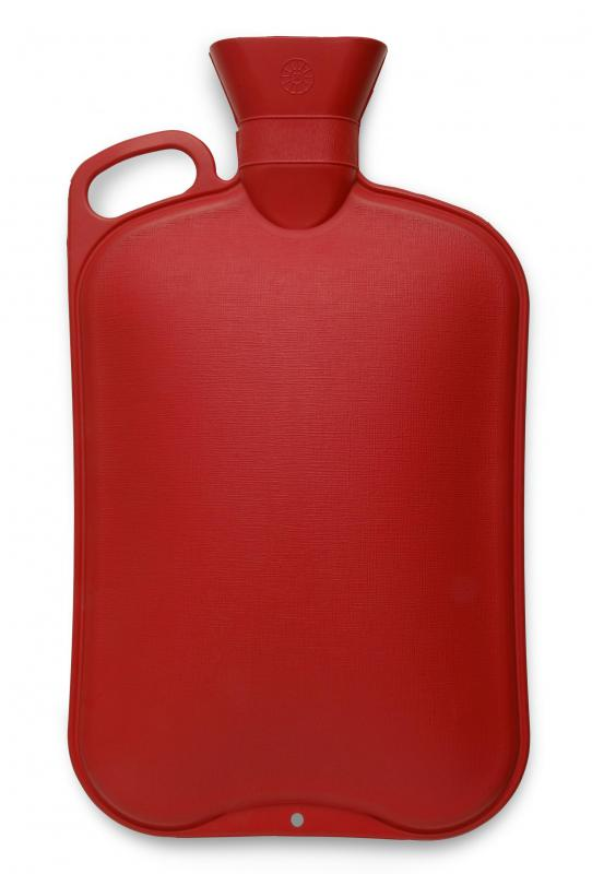 A hot water bottle, which can be used with a castor oil pack.