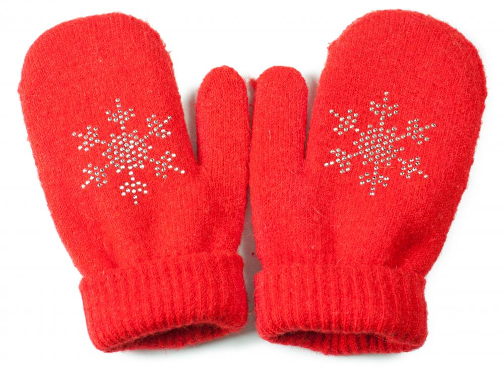 Double-pointed knitting needles are commonly used to make mittens.