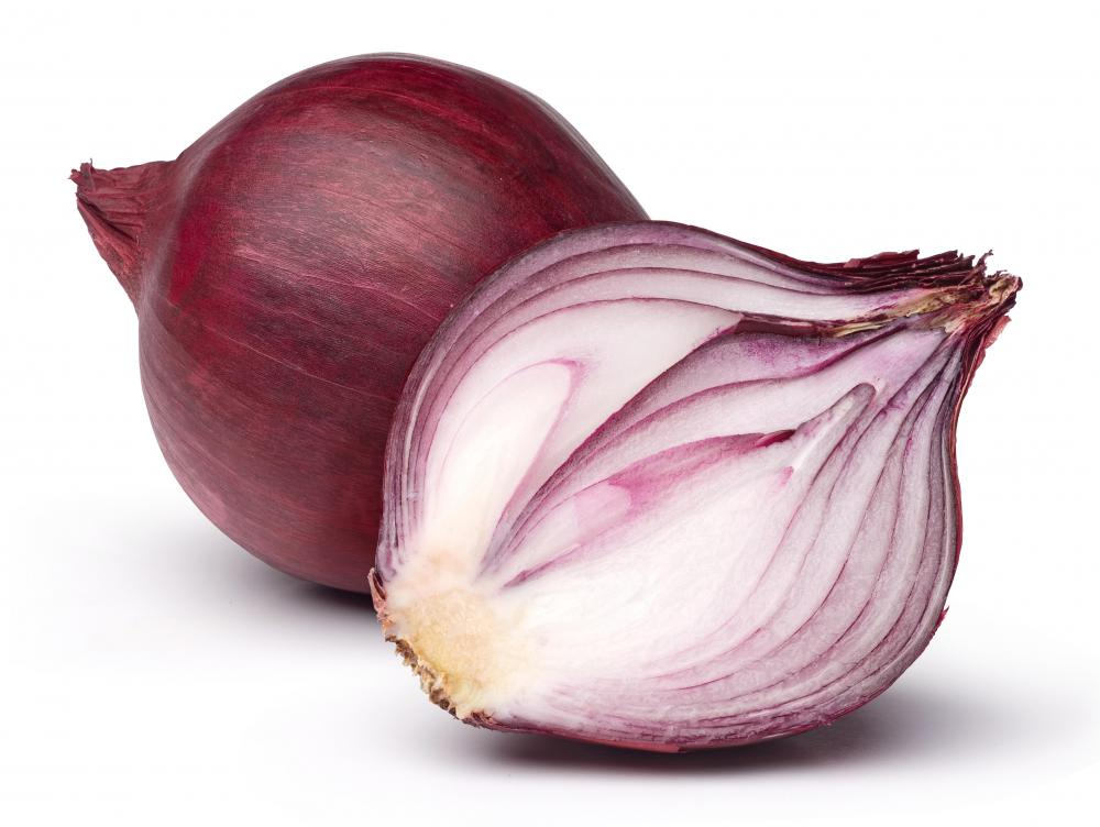 Red onion skins can be used to make a natural red dye.