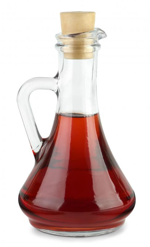 Red wine vinegar, which can be used to make a vinaigrette dressing.