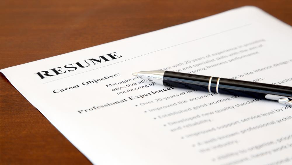 A resume should include a person's work history and education.
