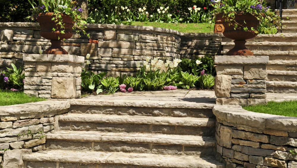 Stone garden retaining walls can be made from natural stone found in the garden or yard.