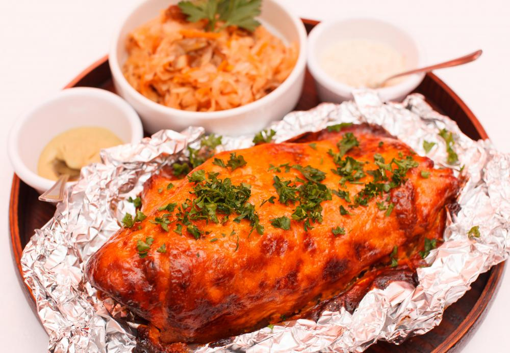 Aluminum foil can be used to wrap foods during cooking and roasting, as well as storing food afterward.