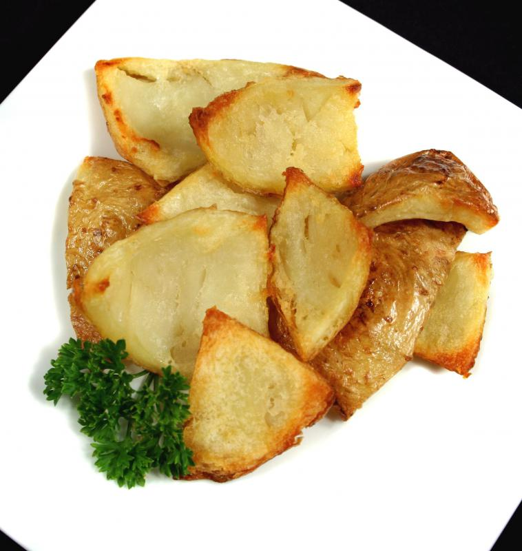 Roasted potatoes, which are often served with pork confit.