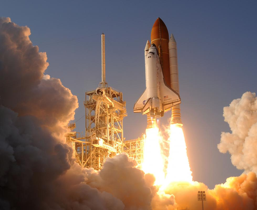Space shuttles were launched into low Earth orbit.