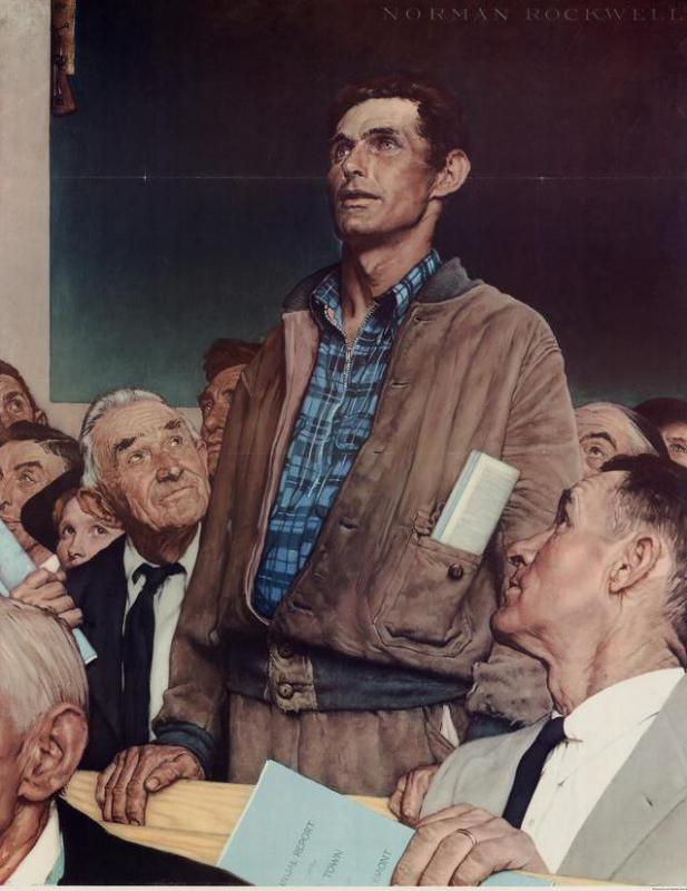 Freedom of speech was one of the rights illustrated by Norman Rockwell in his series of paintings called The Four Freedoms.
