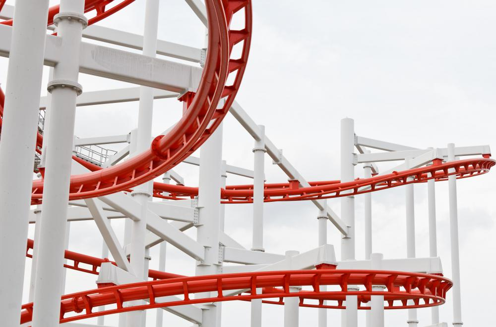 A closeup of a roller coaster.