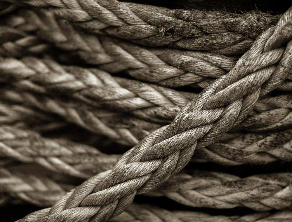 Anchor rope is usually very thick.