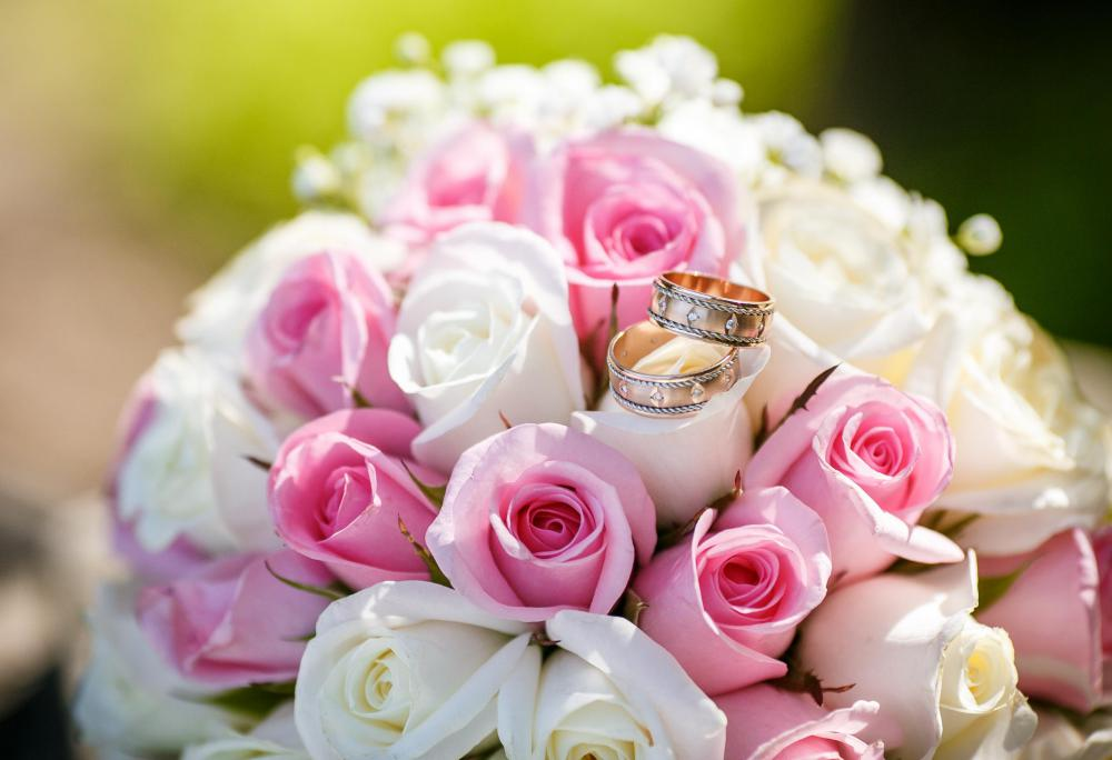 Pink roses are often used in wedding bouquets.
