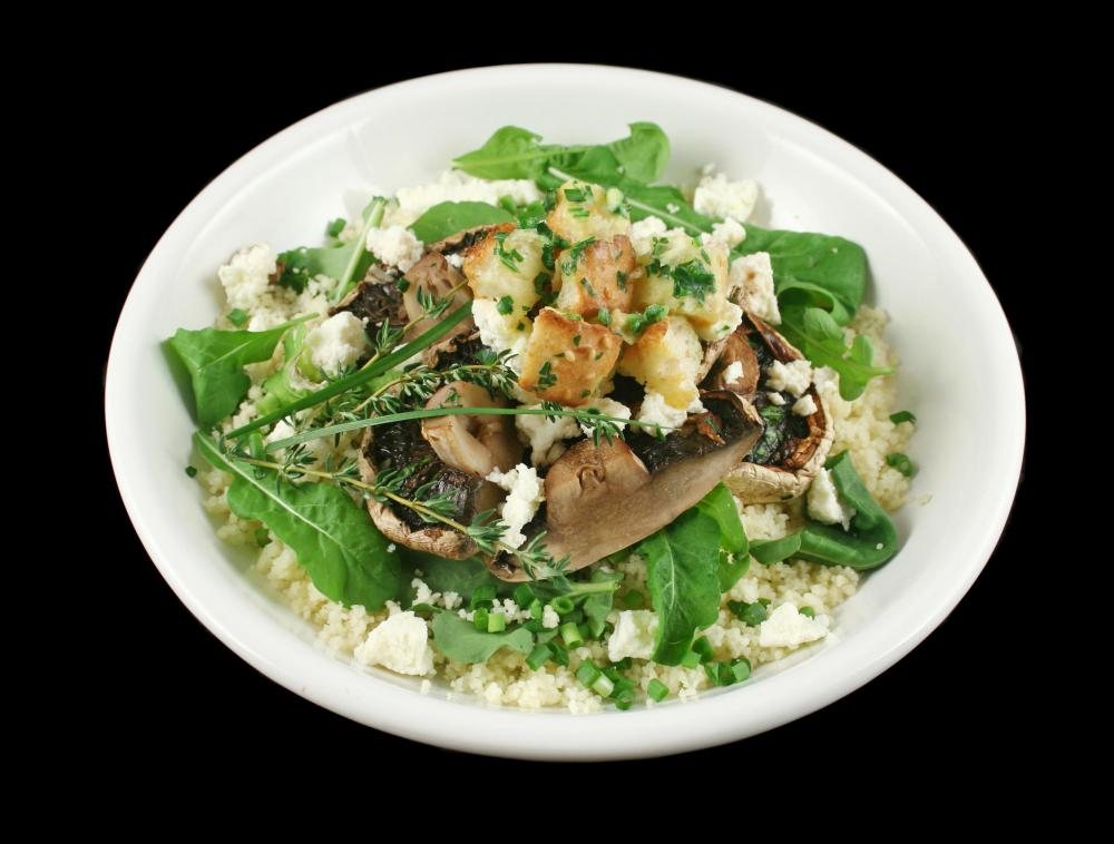 Mushrooms may be featured in salads.