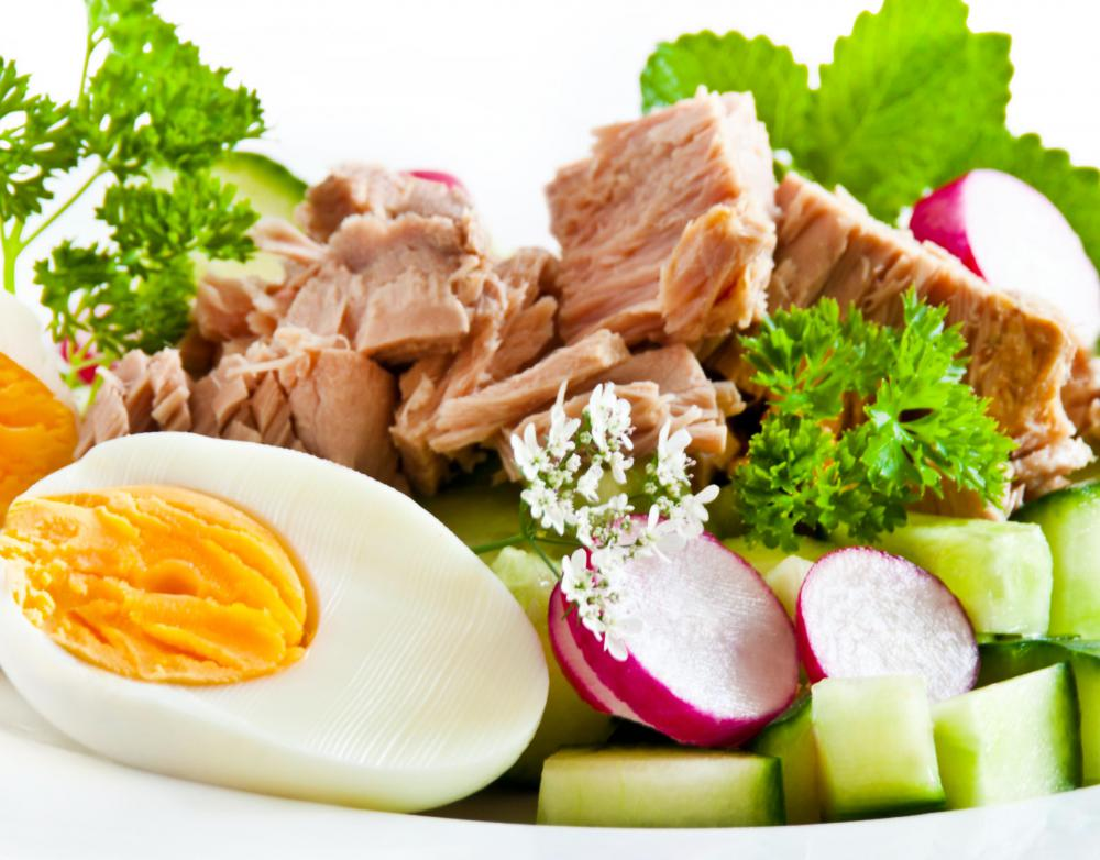 Eggs and tuna are high in protein.